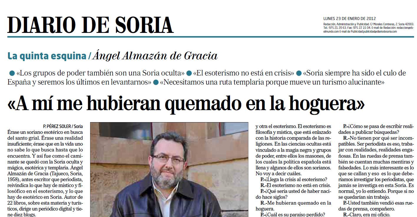 Angel Almazan entrevista en Diario de Soria