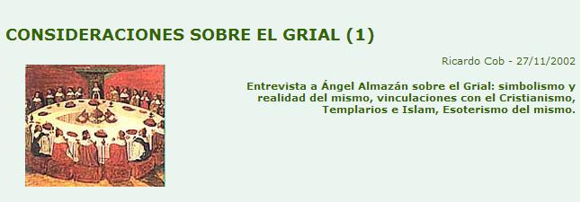 Entrevista sobre el Grial a Angel Almazán