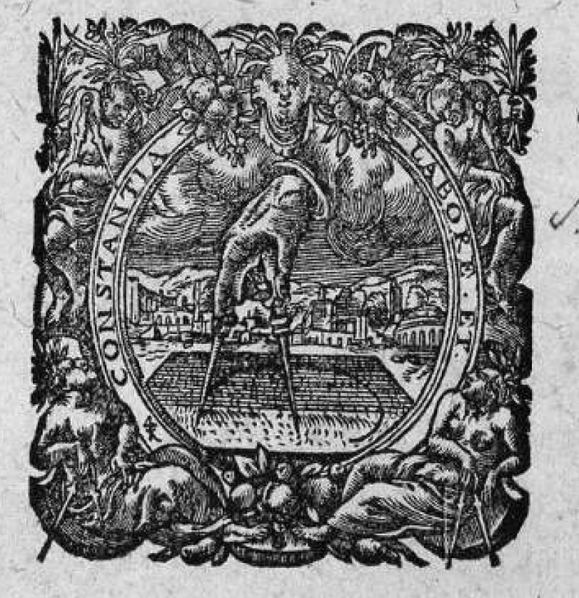 Emblema de la imprenta Compás de Oro en la que Plantino editó los libros de Montano, la Biblia Regia Políglota, y libros de familistas, Hiël incluido.