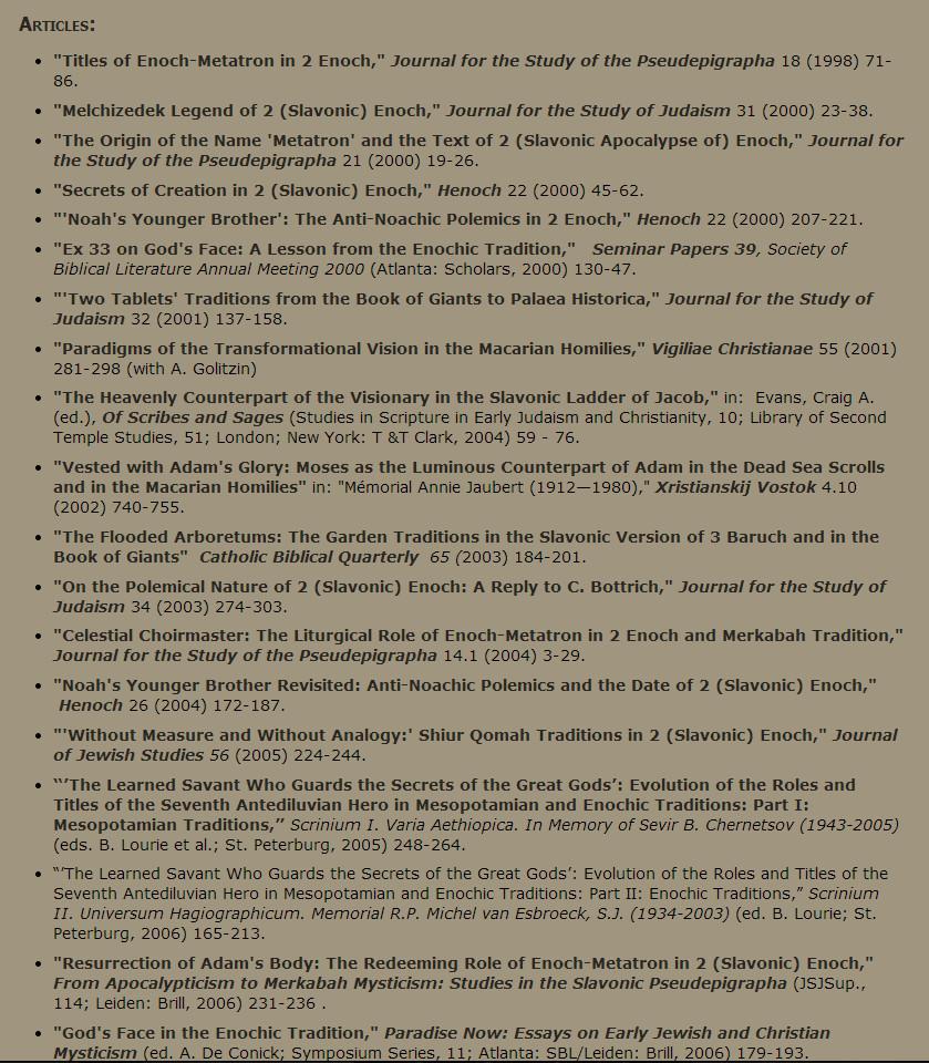 Ensayos de A.Orlow sobre Enoc-Metatron y extractos de su libro