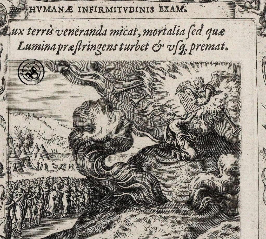 Humana-Salutatis-Monumenta-de-Arias-Montan,-Bruyn--grabador-y--P.-Borcht-inventor-TABLAS-DE-LA-LEY-1571