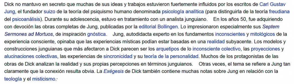 Jung en Philip K. Dick, según Wikipedia
