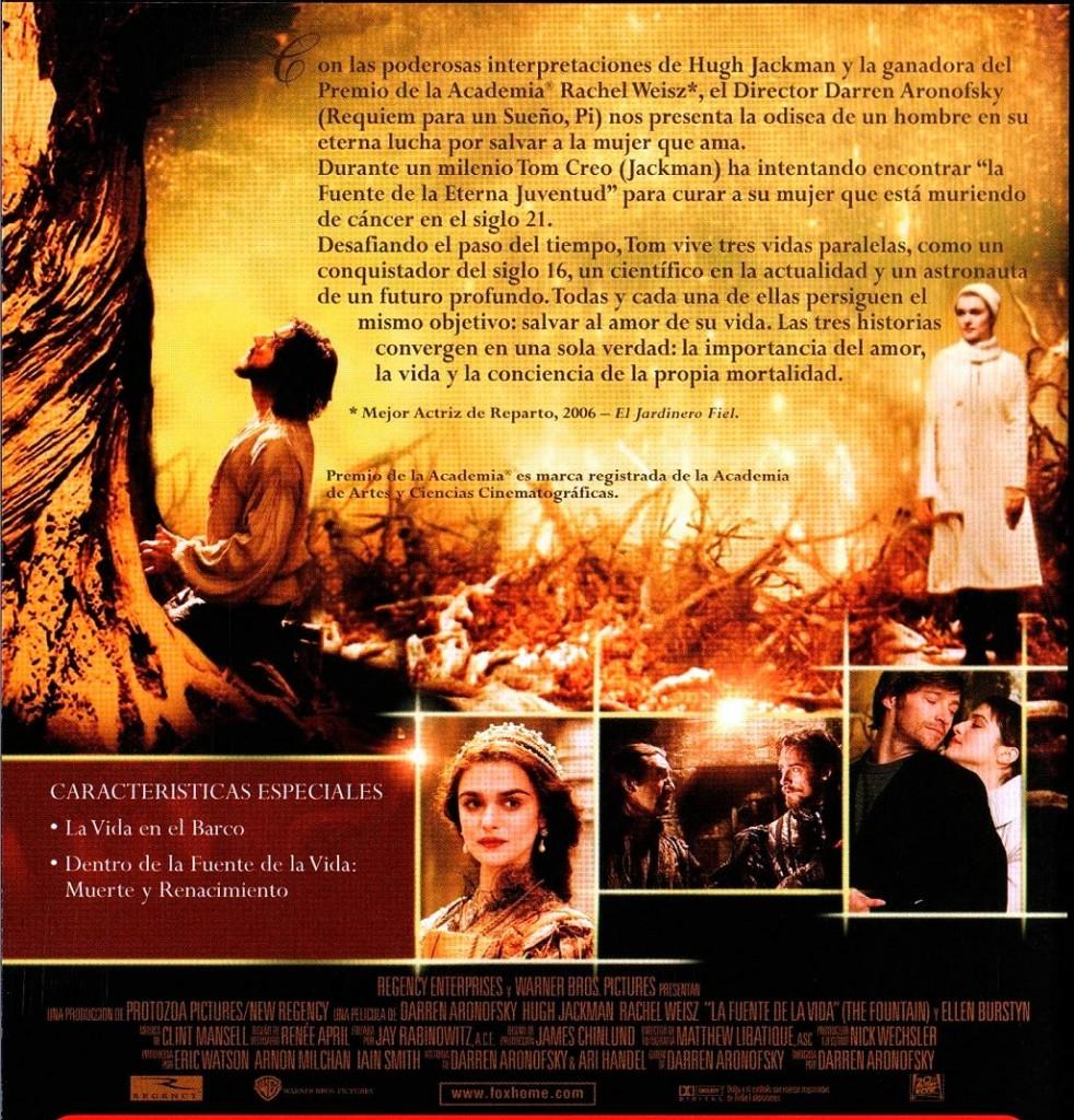 Contraportada del Dvd La Fuente de la Vida de Darren Aronofsky