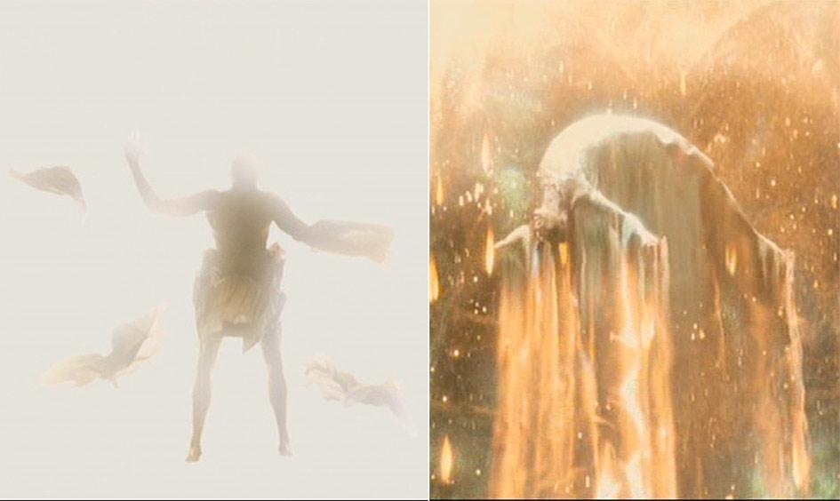 El Auto-Sacrificio del Hombre Universal al final de la película La fuente de la vida (Aronofsky) que revitalizará a la nebulosa Xibalba y generará nuevos mundos con todos sus seres.