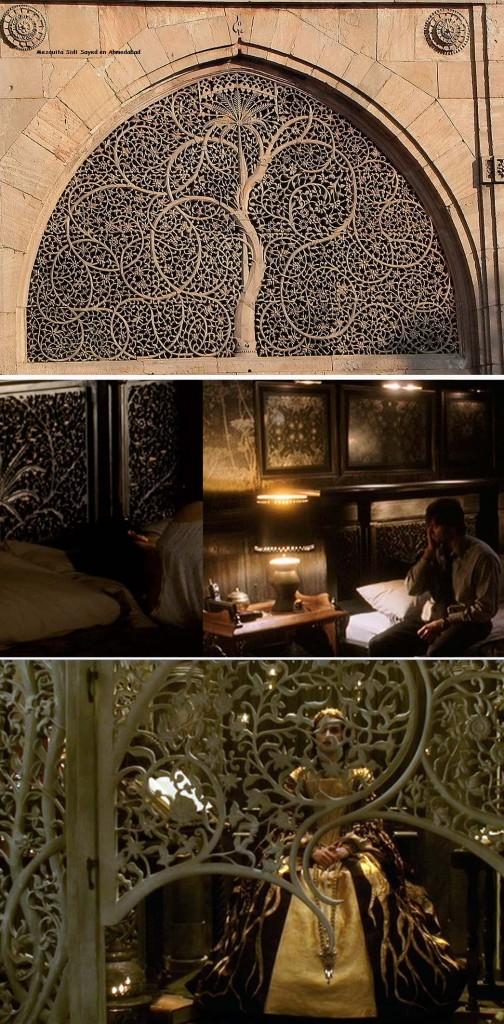 El Árbol de la Vida de una mezquita india sirvió de modelo para algunos decorados en La Fuente de la Vida. Y por cierto que encima de la cama había tres mandalas...