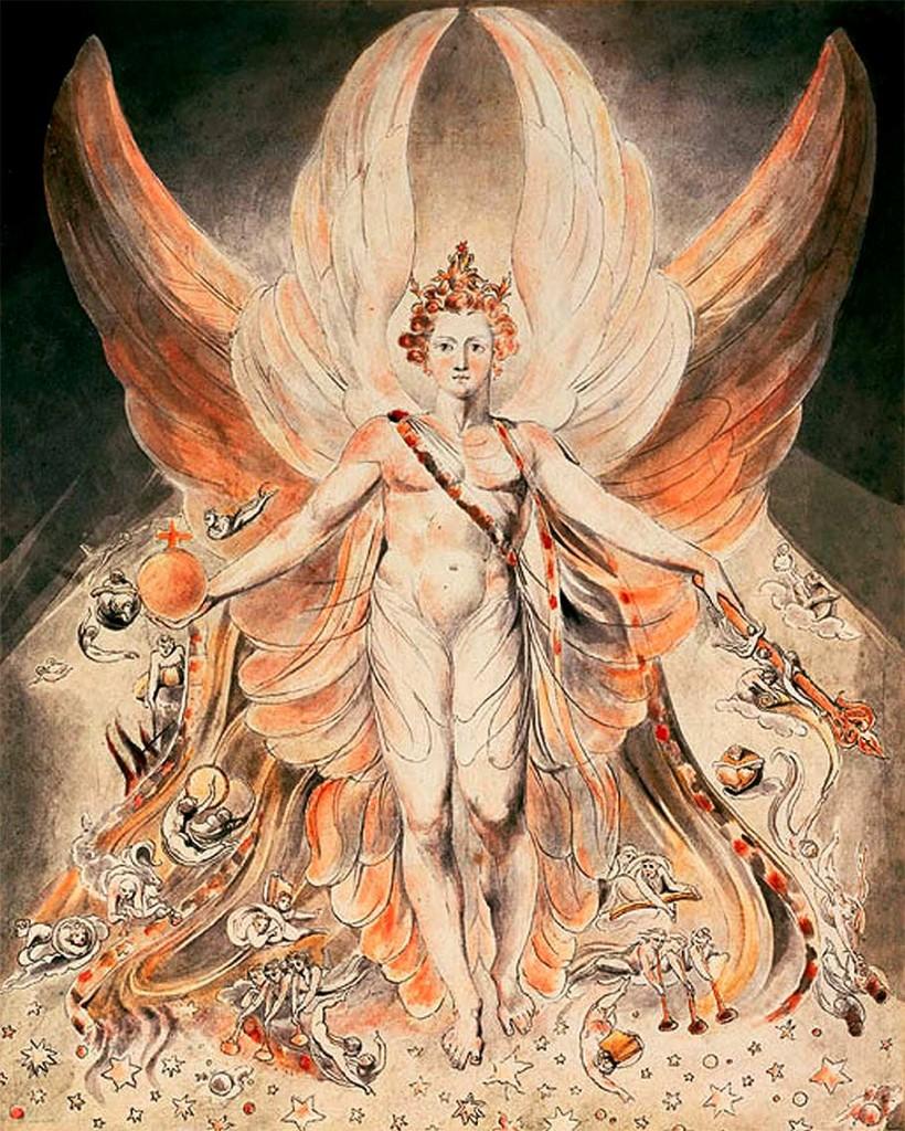 Luzbel-Lucifer en todo su esplendor antes de la caída. Obra de William Blake