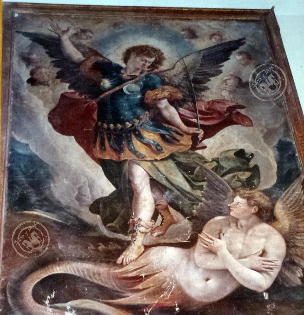San Miguel y Luzben en cuadro gigante de La Cuesta-Burgo de Osma (Soria)