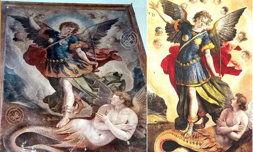 San Miguel y Lucifer-Luzbel en El Burgo de Osma (Soria-España) y Cuatitlán (México). El mexicano es el original, de Martín de Vos (1581).