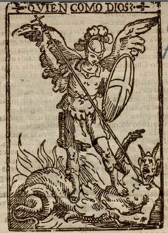 """Otro ejemplo de """"diabolización"""" de Luzbel siguiendo la temática del cuadro original de Martín de Vos. Este grabado es de 1670 y se publicó en Granada."""