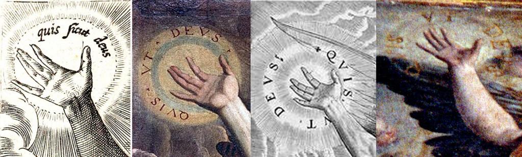 Quis ut Deus y Quis sicut Deus, nombre de San Miguel en Martin de Vos. La última figura: la del Burgo de Osma.