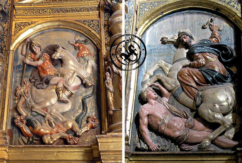 San Jorge y Santiago Matamoros en retablo renacentisa del trascoro de la catedral del Burgo de Osma