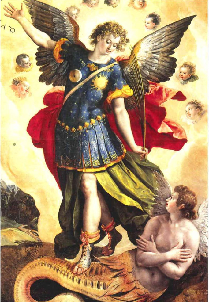San Miguel y Luzbel en óleo sobre tabla (catedral de Cuatitlán). Pintado por Marten de Vos en 1581.