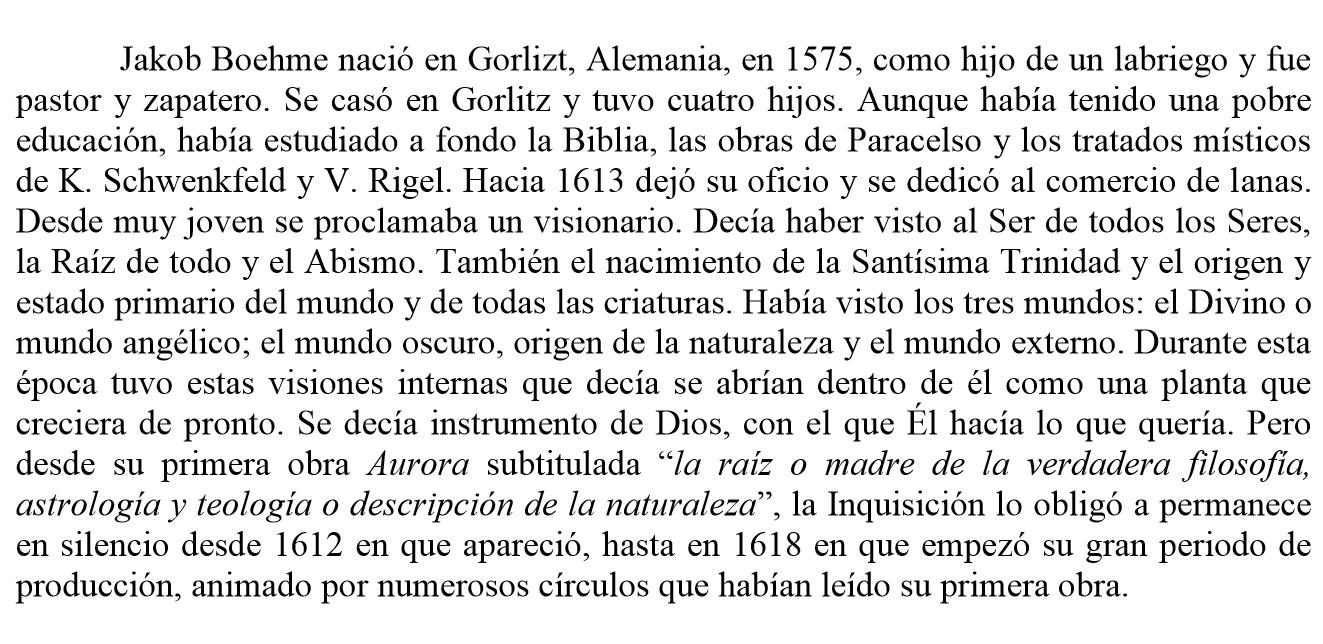 Inicio del ensayo de Carlos Seijas sobre Boehme