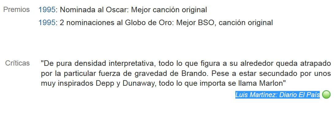 Marlon Brando en Don Juan de Marco, diario El Pais