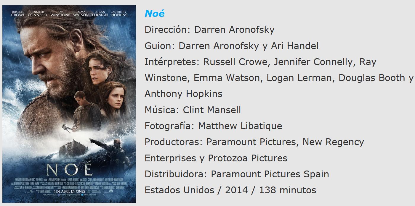 Noe de Aronofsky ficha tecnica