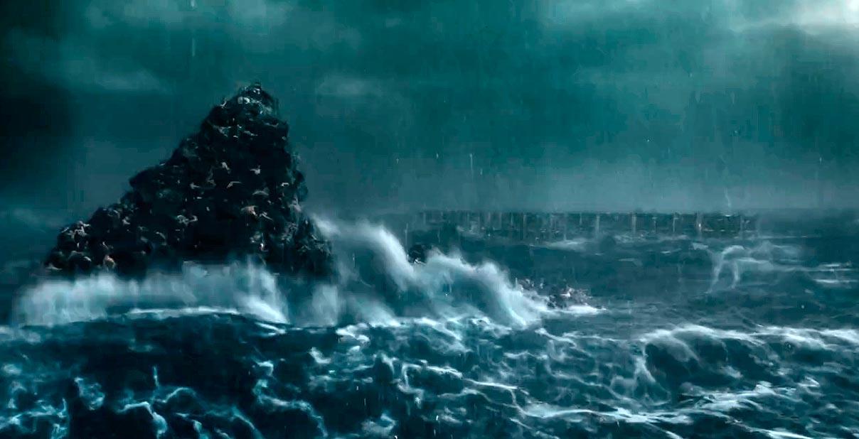 Los últimos caínitas de la región de Noé a punto de ahogarse, en el film de Aronofsky