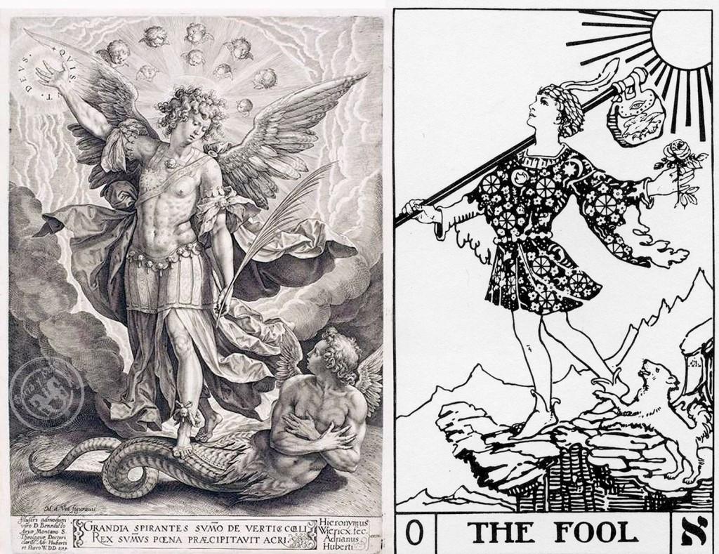 Loco en Tarot de Foster Case y San Miguel con Lucifer  en grabado de Hieronymus Wierix basado en cuadro de Martin de Voos