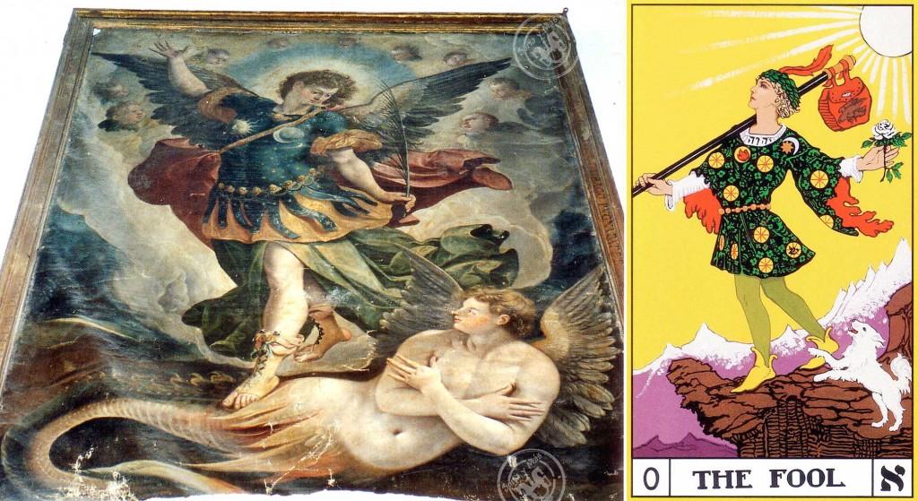 Cuadro SanMiguel-Luciférico de La Cuesta y El Loco del Tarot de Foster Case a partir del Tarot de Waite-Smith